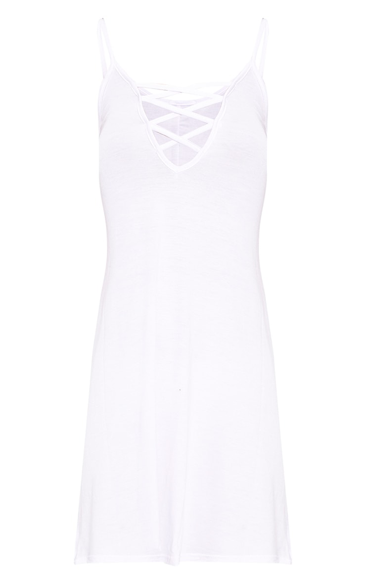 White Jersey Lace Up Front Detail Swing Dress 3