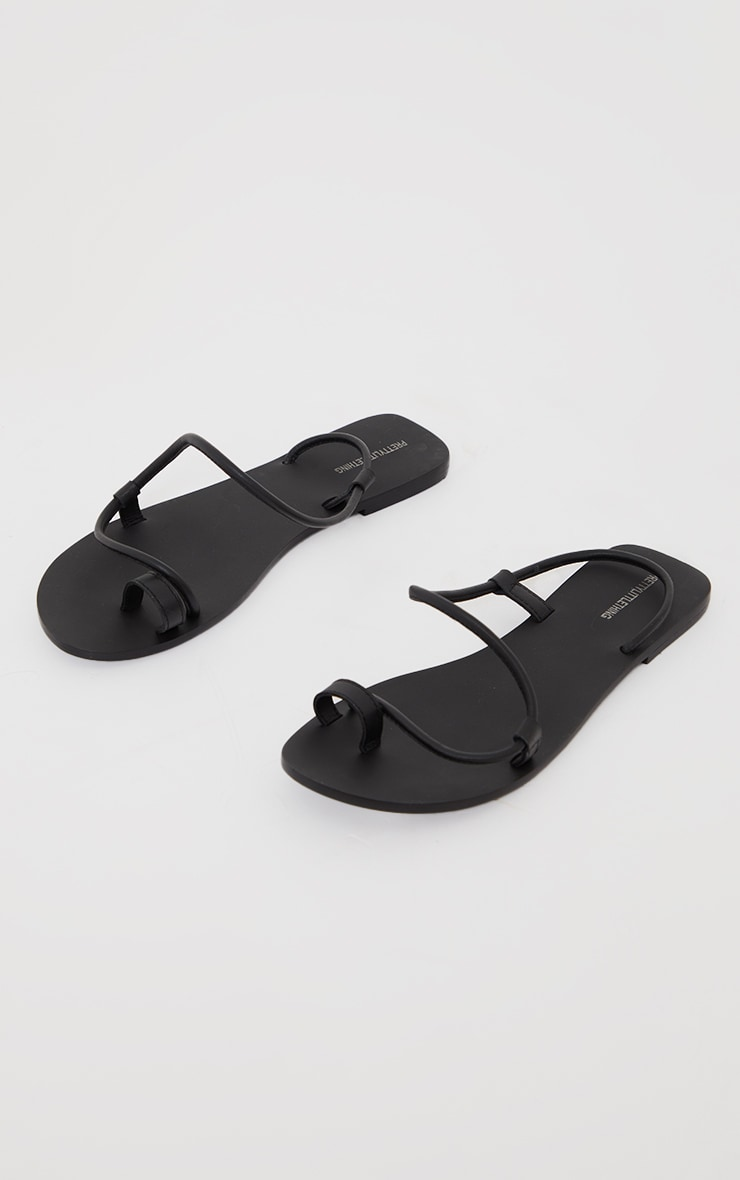 Black Real Leather Rope Strap Sandals 3