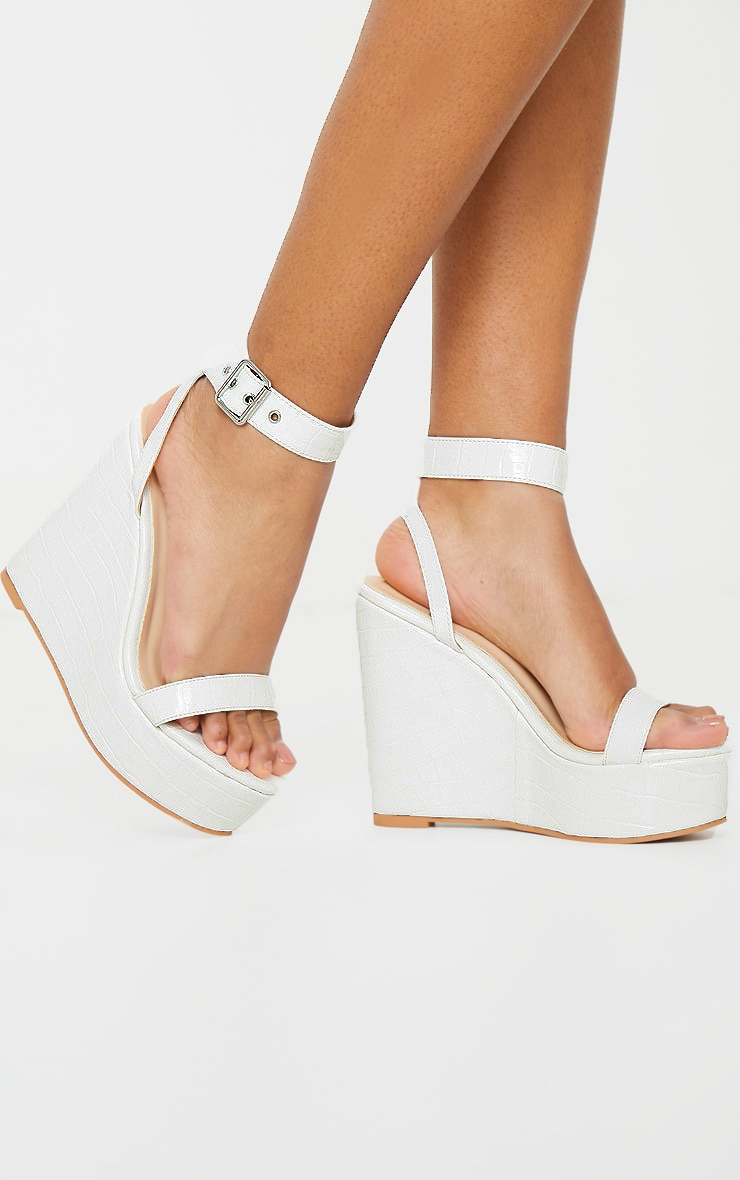 White Ankle Strap High Wedges 2