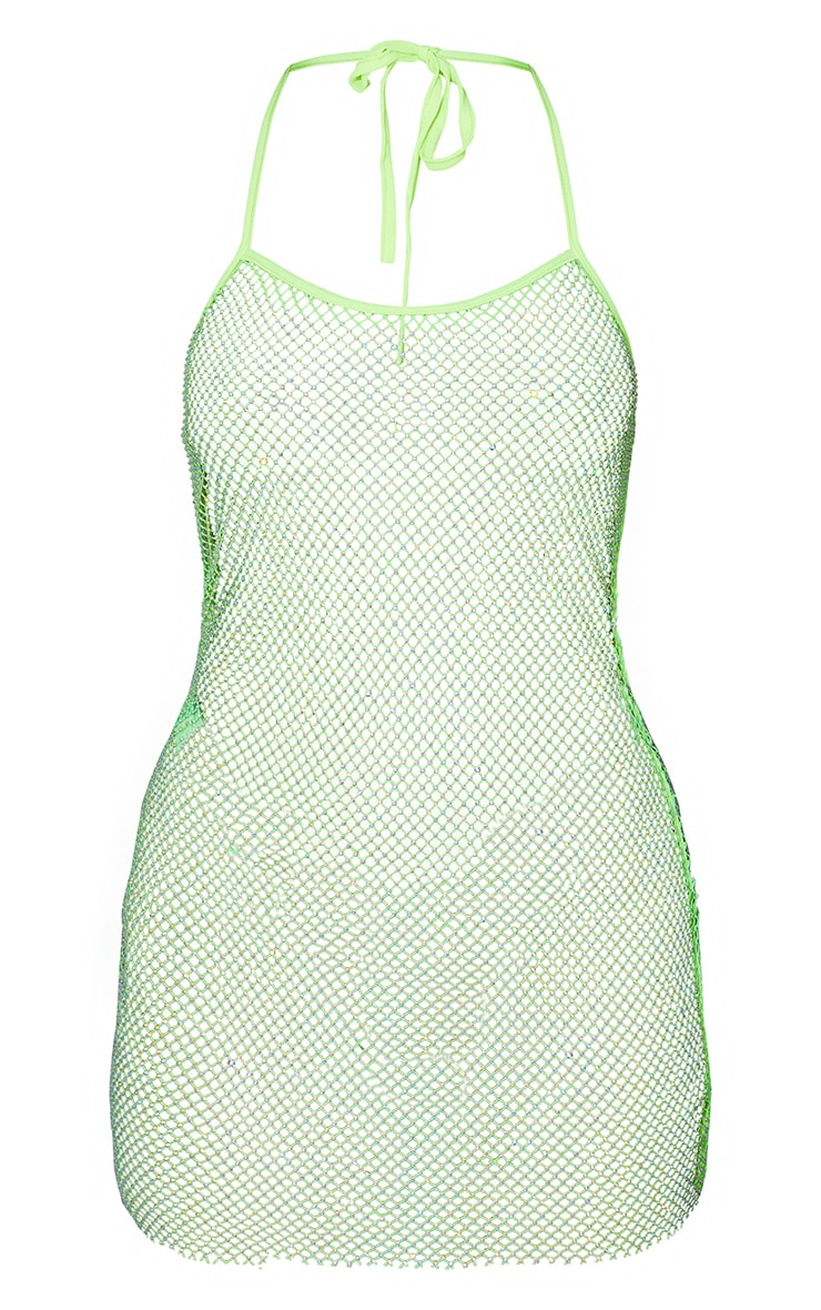 Lime Diamante Fishnet Strappy Dress 6