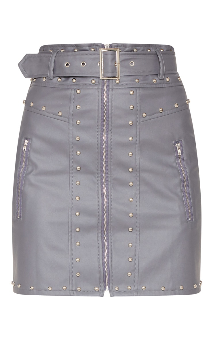 Grey Faux Leather Stud Detail Belted Mini Skirt  3