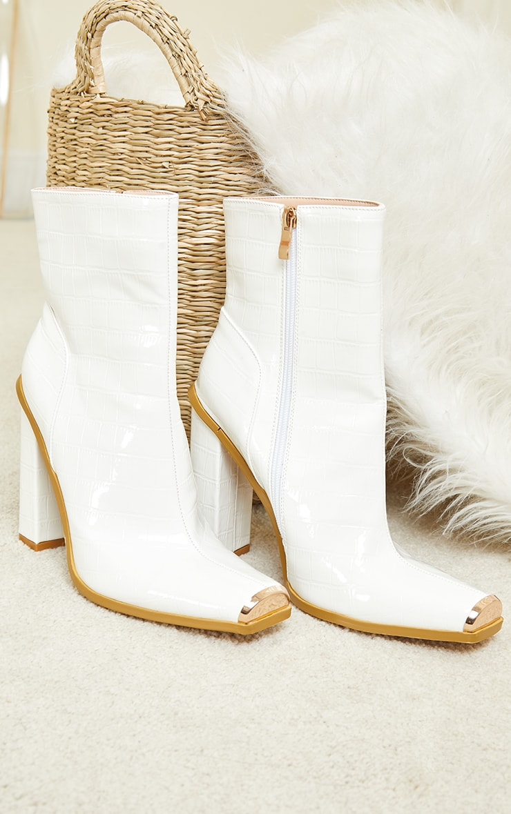 White Metal Toe Highlight Block Heel Ankle Boots 3