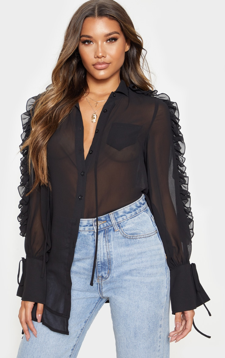 Black Chiffon Ruffle Sleeve Blouse 1