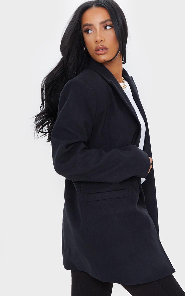 Black Wool Look Oversized Shoulder Padded Blazer 2