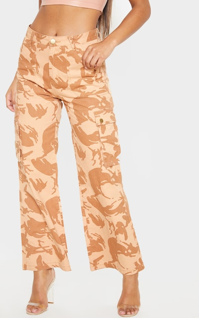 Camo Cargo Baggy Wide Leg Cropped Jeans
