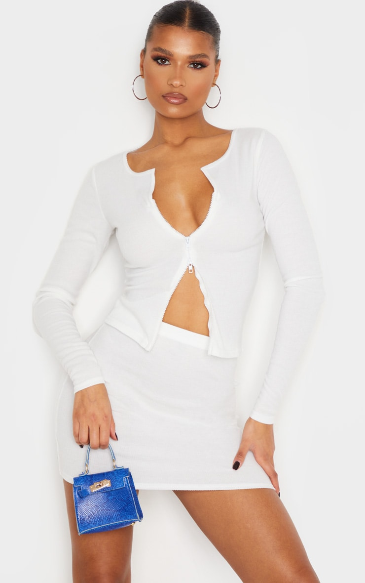 Cream Soft Brushed Rib Double Zip Front Top 2