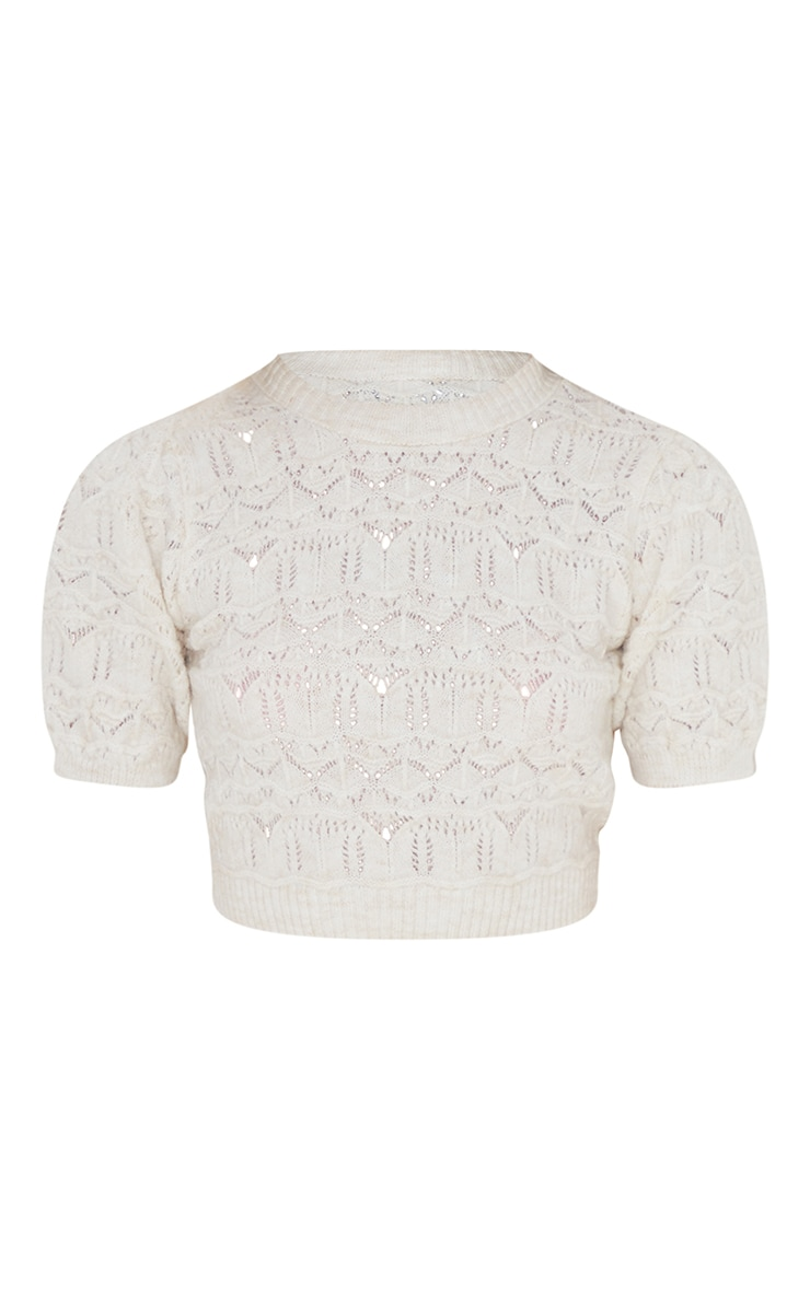 Cream Soft Pointelle Knitted Short Sleeve Top 5