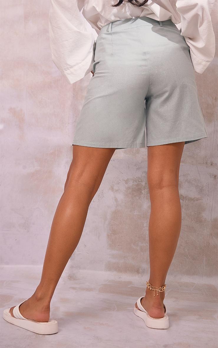 Sage Green Linen Look Tailored Bermuda Shorts 3