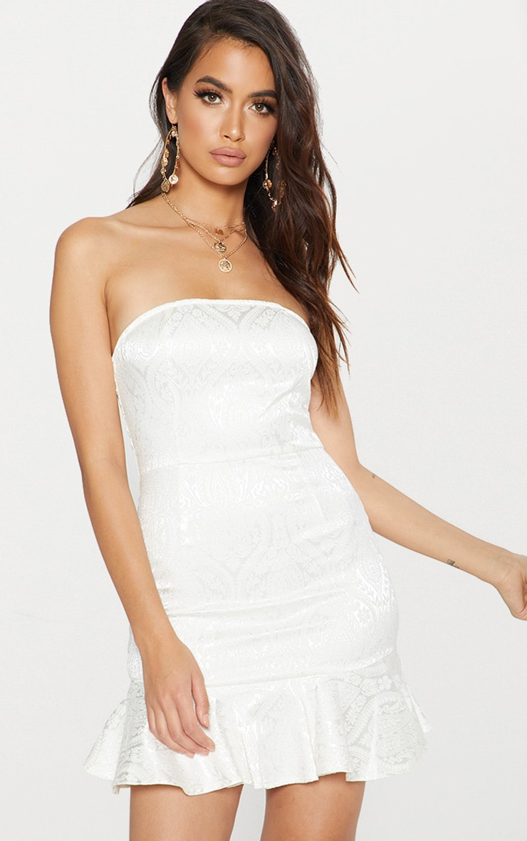 White Jacquard Bandeau Frill Hem Bodycon Dress 3