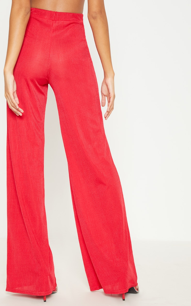 Red Rib Slinky Wide Leg Trouser 4