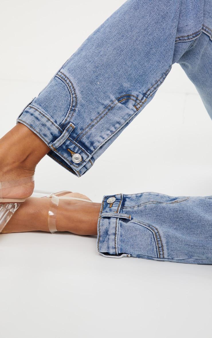 Vintage Wash Cuff Detail Straight Leg Jeans 4