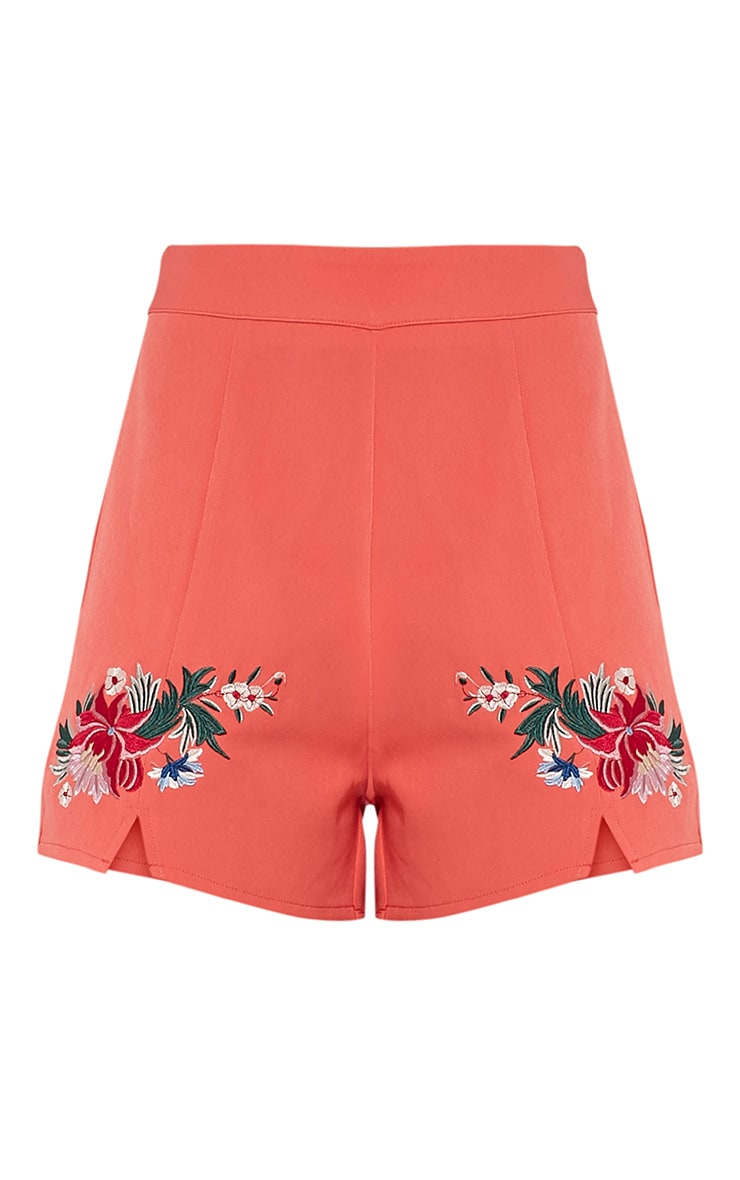 Charis Coral Floral Embroidered Shorts 4