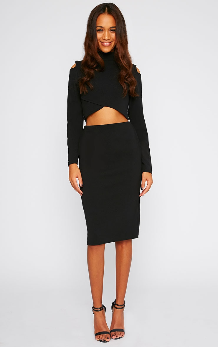 Alina Black Crepe Cut Out Wrap Over Turtle Neck Crop Top 3