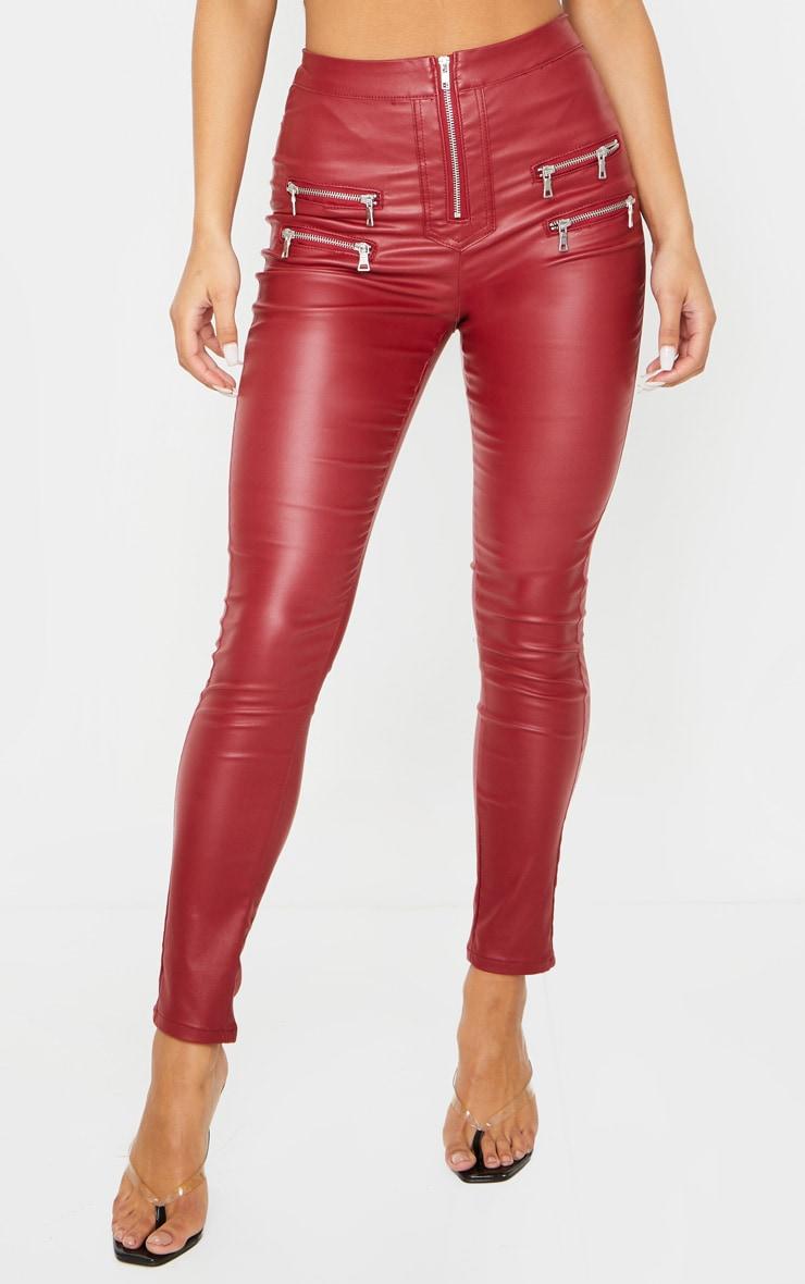 Burgundy Biker Detail Coated Skinny Jean 3