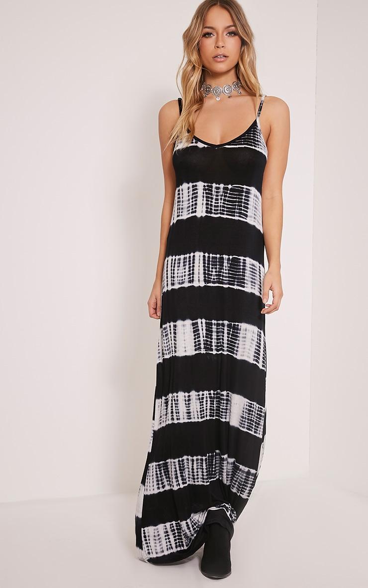 Ranita Black Tie Dye Maxi Dress Dresses Prettylittlething Usa