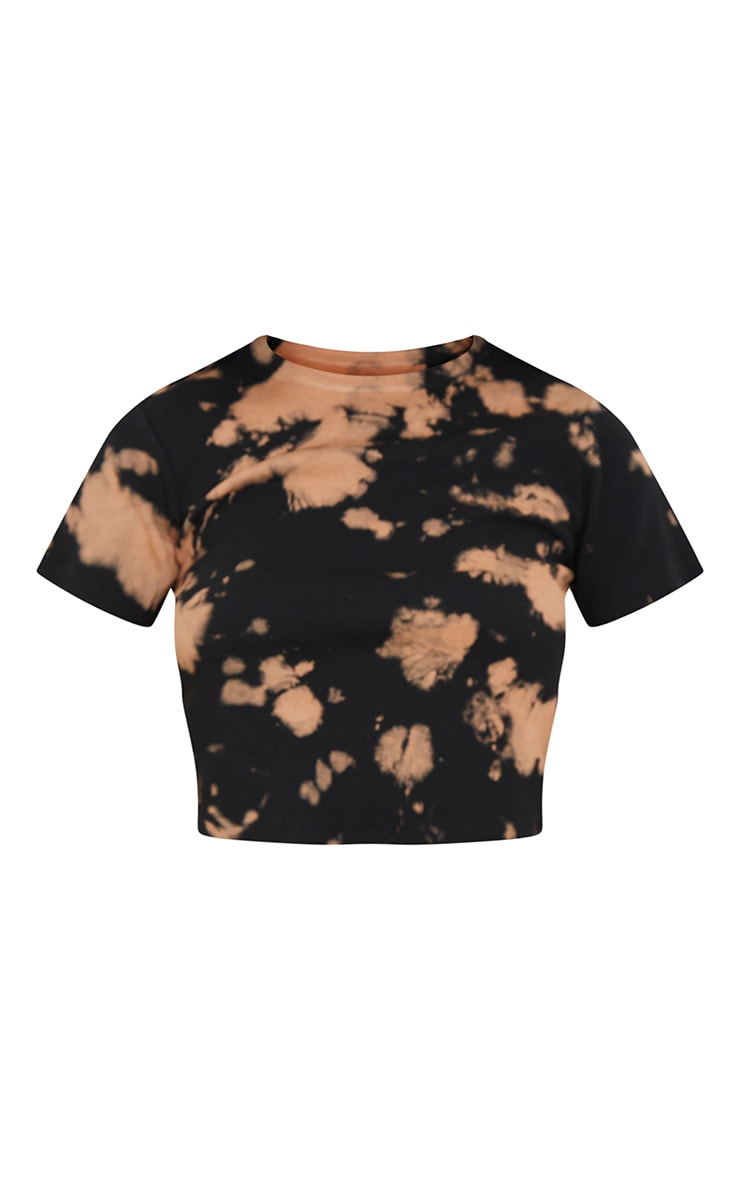 Brown Tie Dye Ribbed T Shirt 5