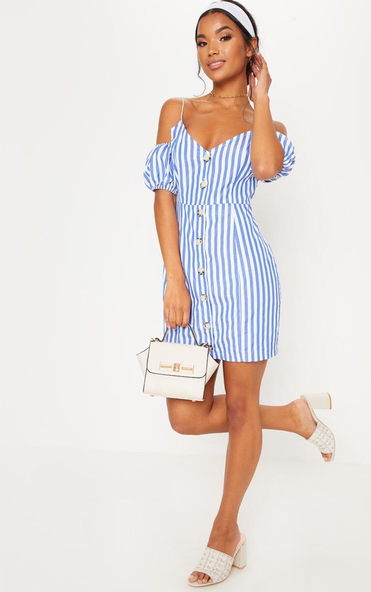 Blue Stripe Print Button Up Puff Sleeve Bodycon Dress 4