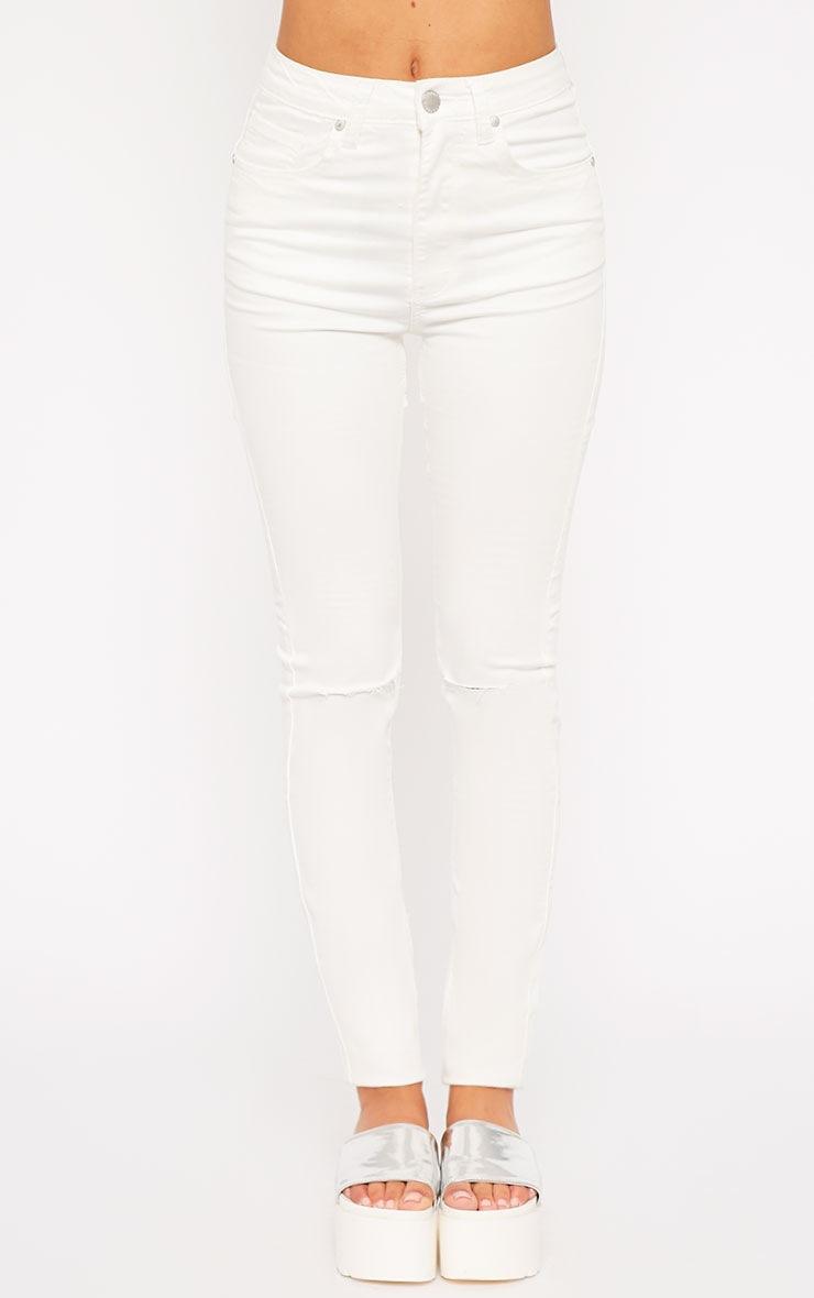 Ariana White Ripped Skinny Jean 5