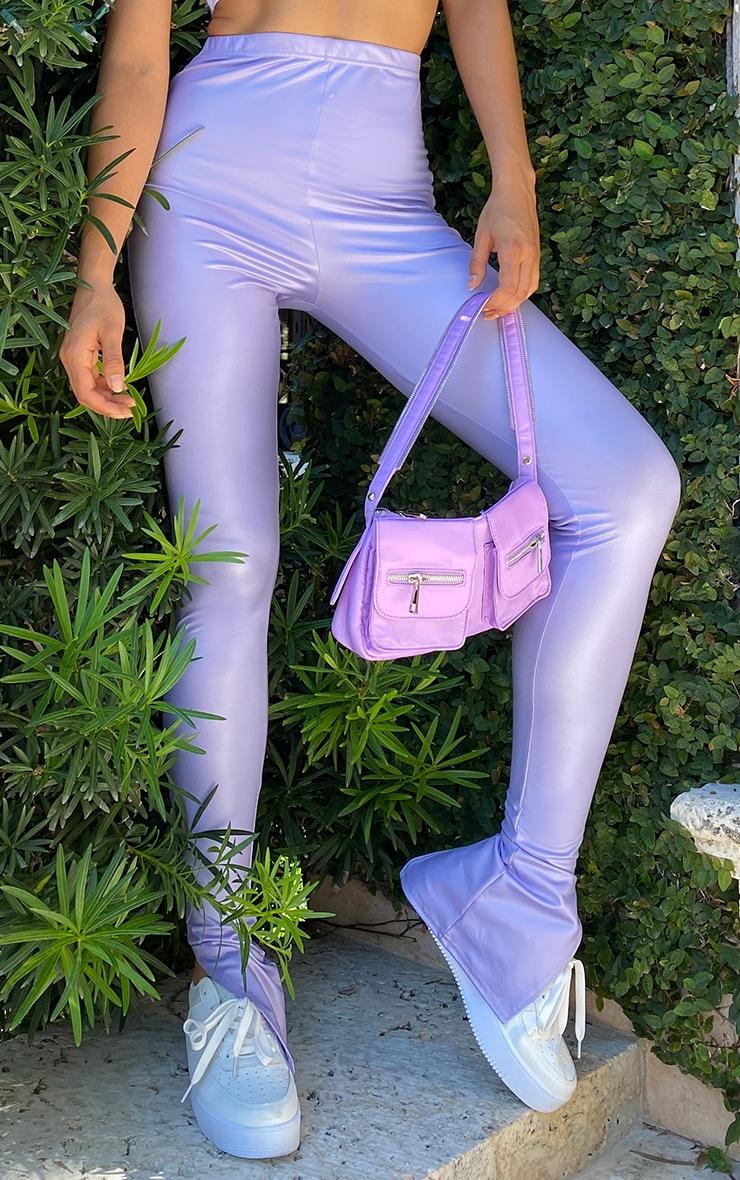 Tall Lilac Split Hem Coated PU Legging 2