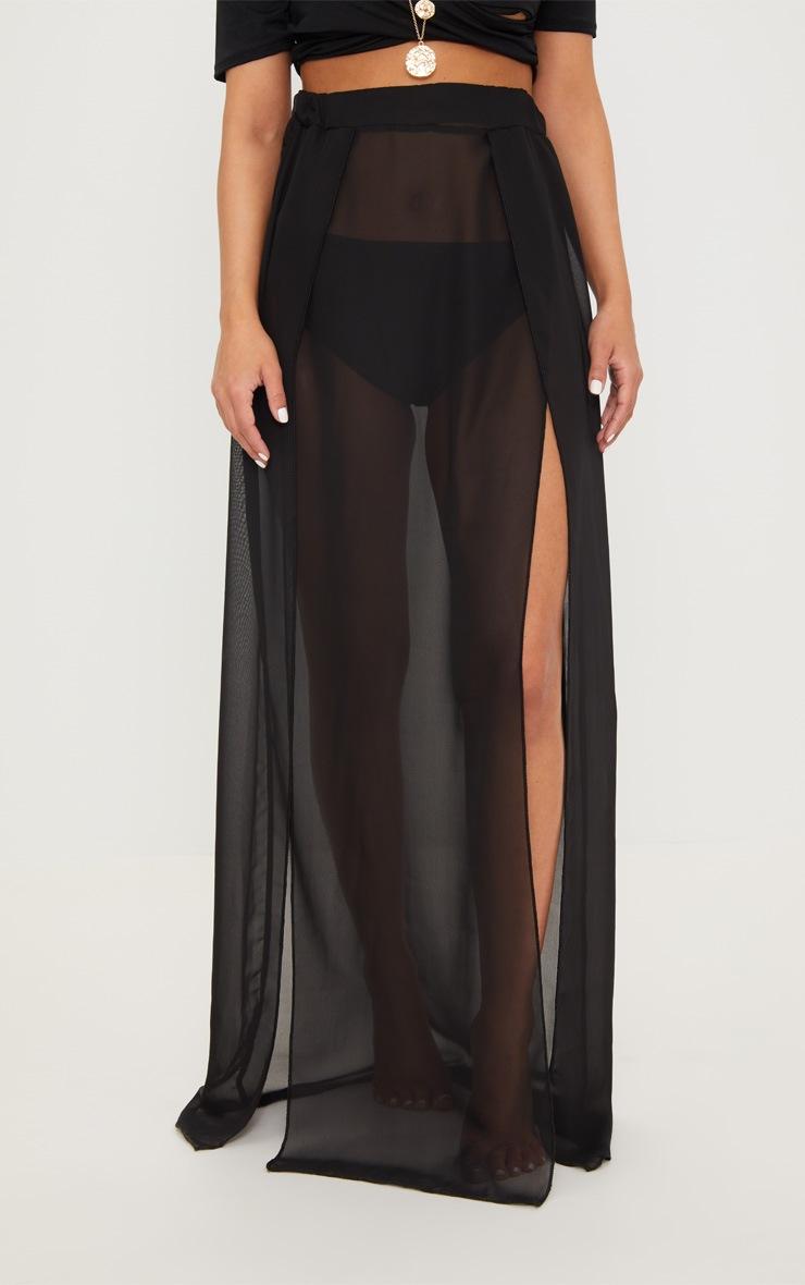 Petite - Jupe longue noire en mesh 2
