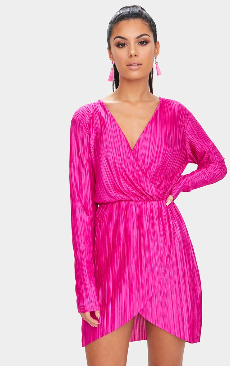 15cabd913c90 Hot Pink Long Sleeved Plunge Pleated Wrap Dress | PrettyLittleThing USA