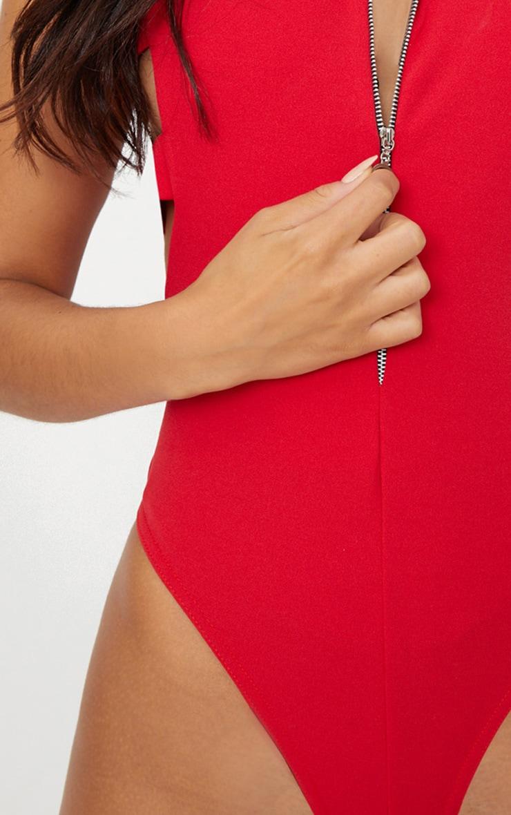 Red Zip Front Drop Arm Thong Bodysuit 4