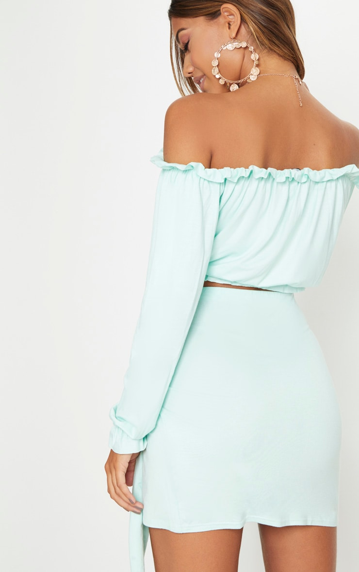 Mint Jersey Bardot Key Hole Crop Top  2
