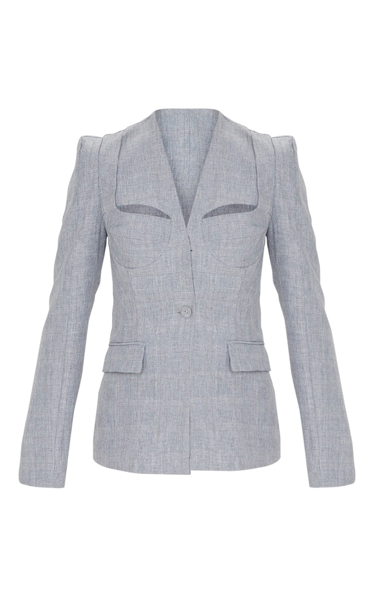 Grey Cut Out Cup Detail Blazer 3