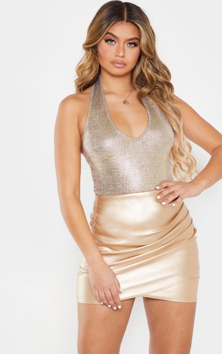 Gold Metallic Halterneck Bodysuit  1