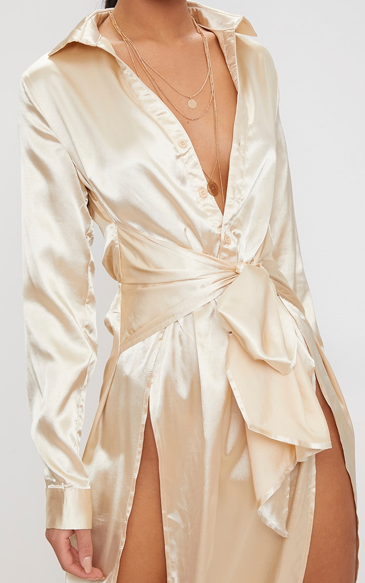 Champagne Satin Extreme Split Waist Tie Shirt Maxi Dress  5