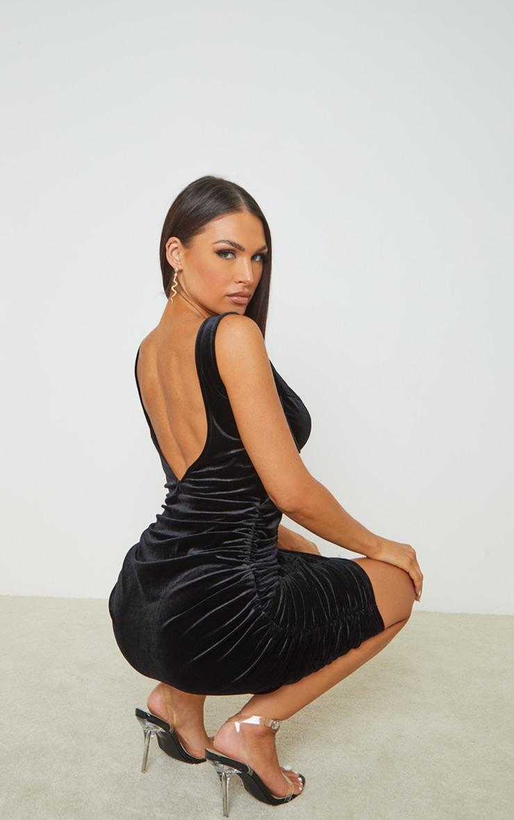Black Velvet Corset Ruched Binding Detail Bodycon Dress 2