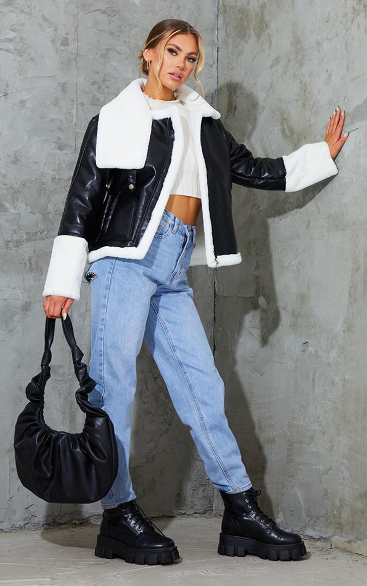 Black Faux Leather Contrast Coloured Faux Fur Pocket Front Aviator 1
