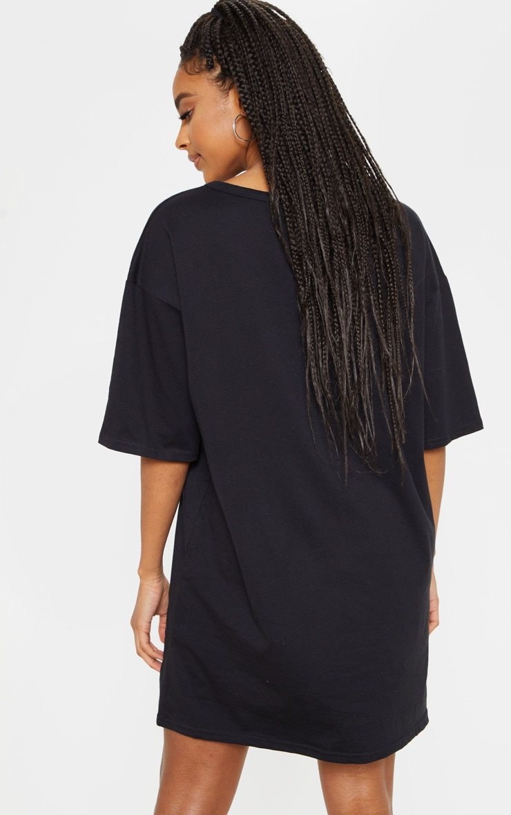 PRETTYLITTLETHING Black Oversized Boyfriend T Shirt Dress 2