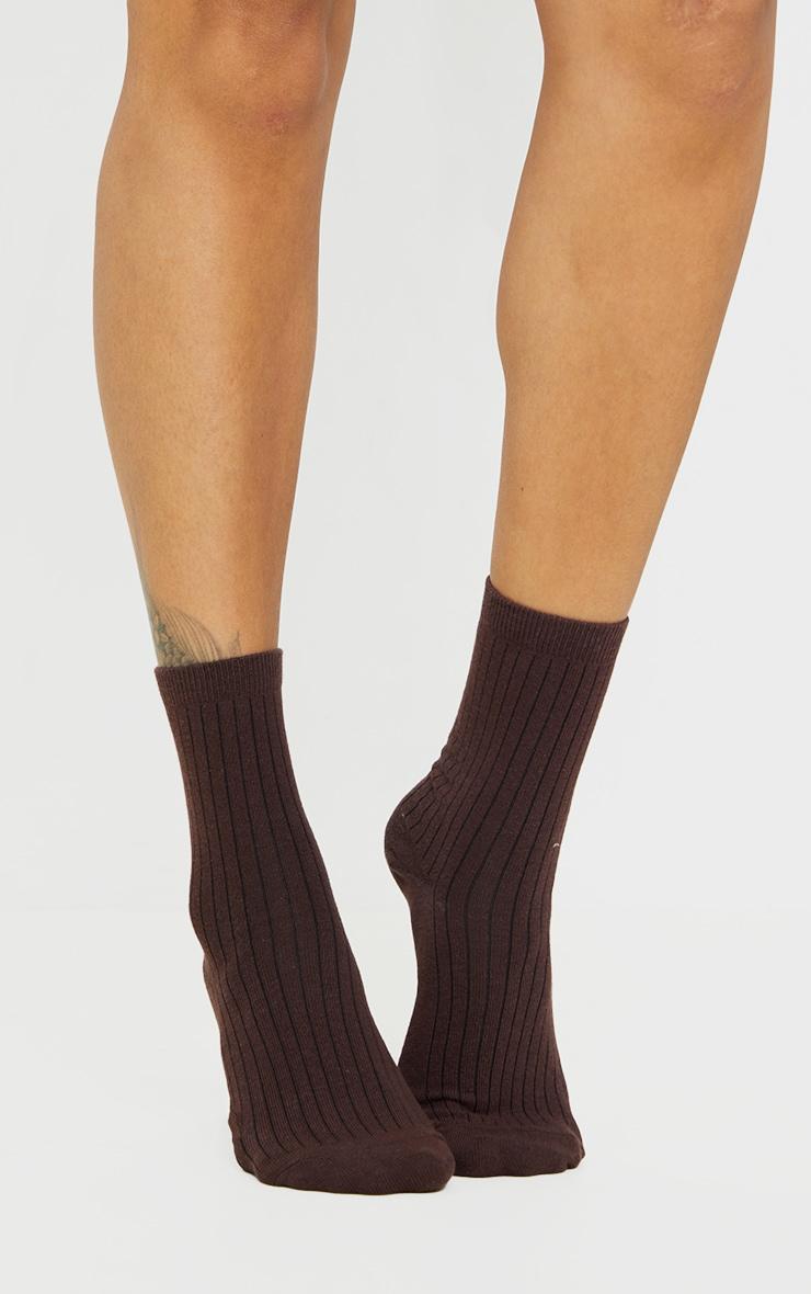 Chocolate Ribbed Ankle Socks 2