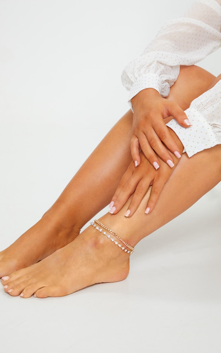 Gold Diamante Chain Anklet 1
