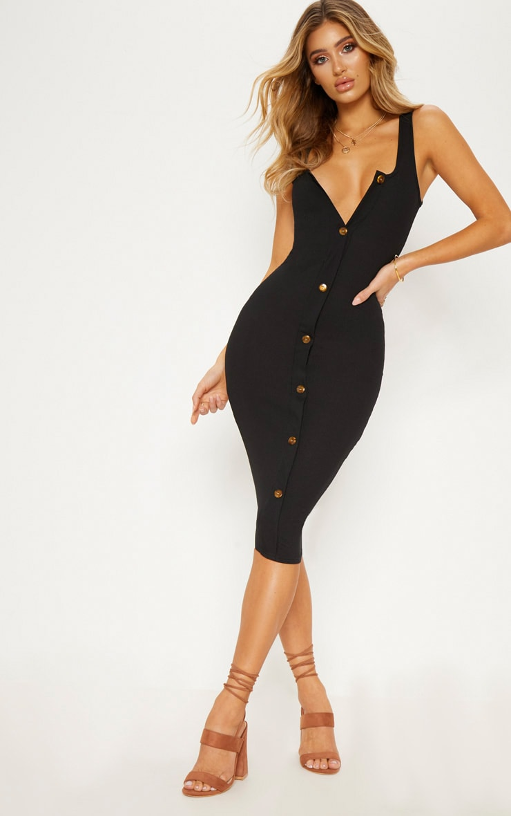 Black Ribbed Button Detail Midi Dress 1