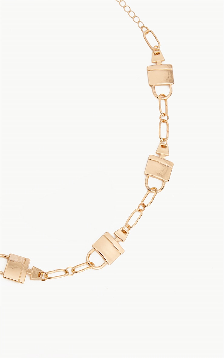 Gold Multi Padlock Necklace 4