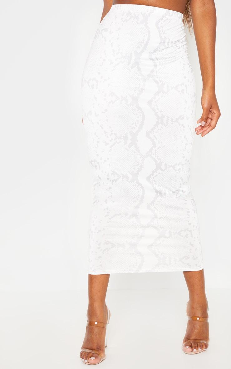 Cream Slinky Snake Print Midaxi Skirt 2