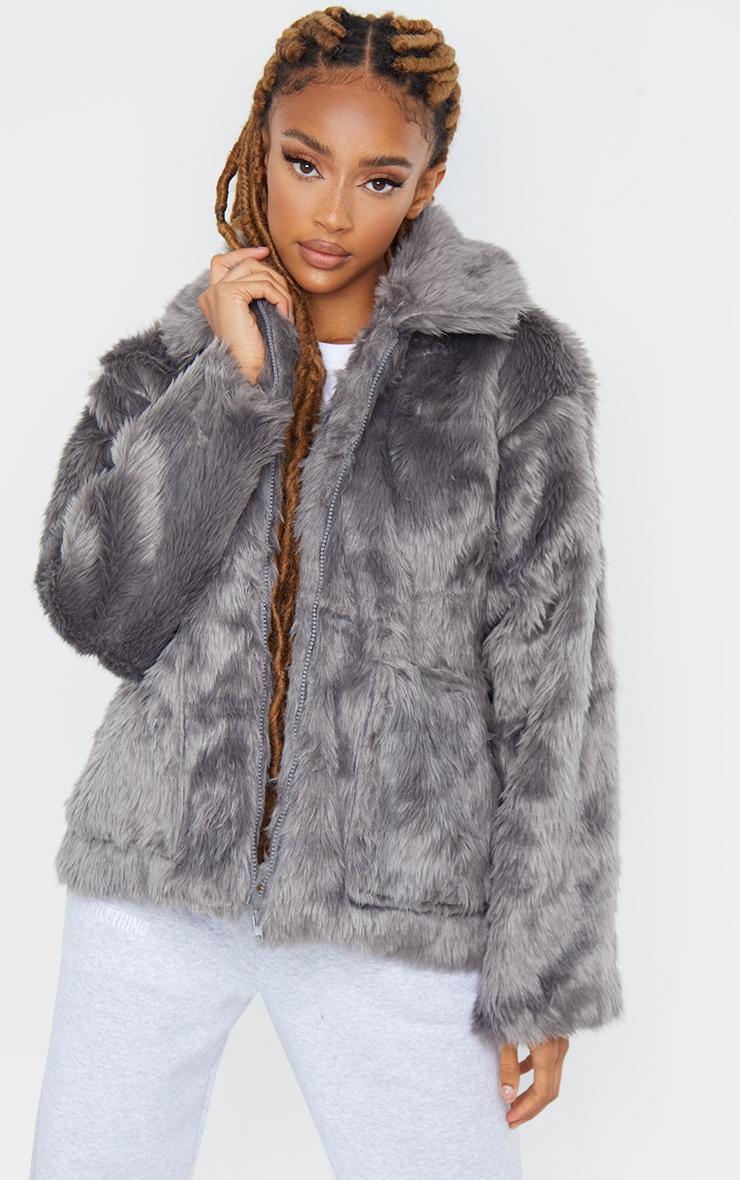 Dark Grey Long Faux Fur Pocket Front Jacket 1