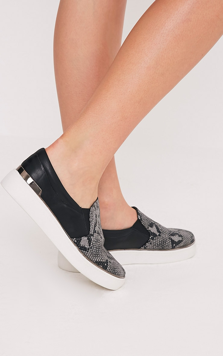 Ania Grey Faux Snake Skin Slip On Trainers 2