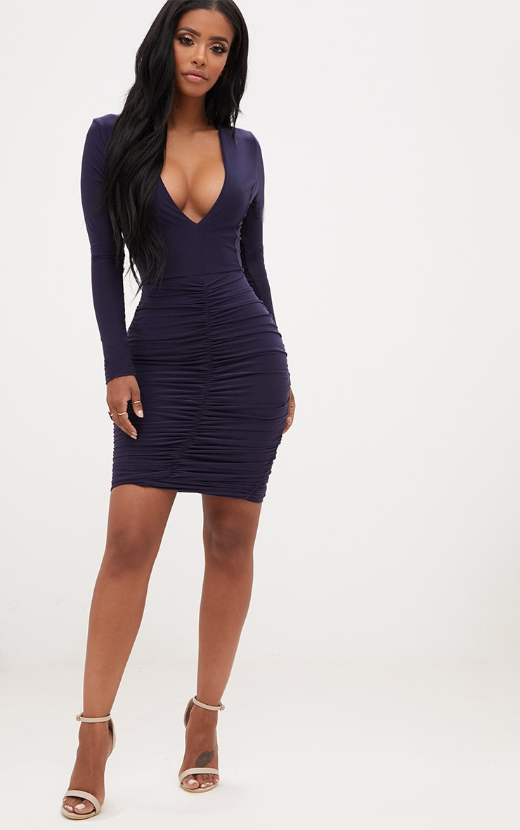 Shape Navy Ruched Slinky Mini Dress 4