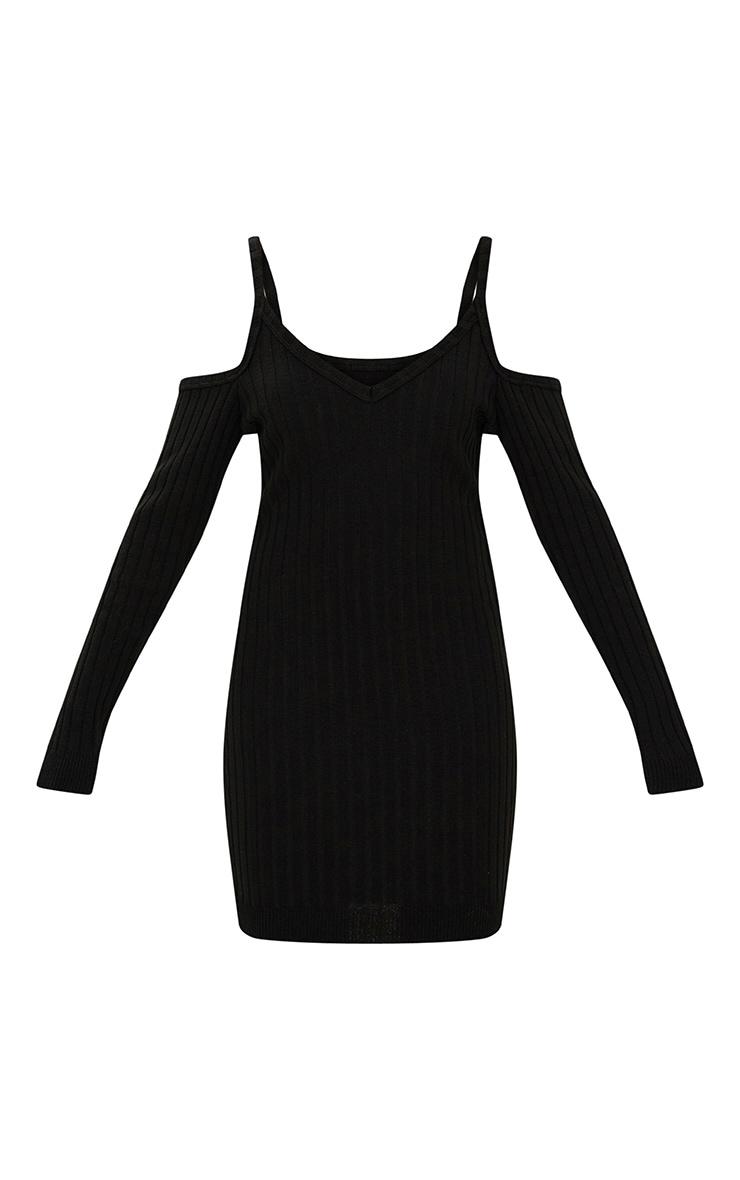 Black Cold Shoulder Knitted Mini Dress  2