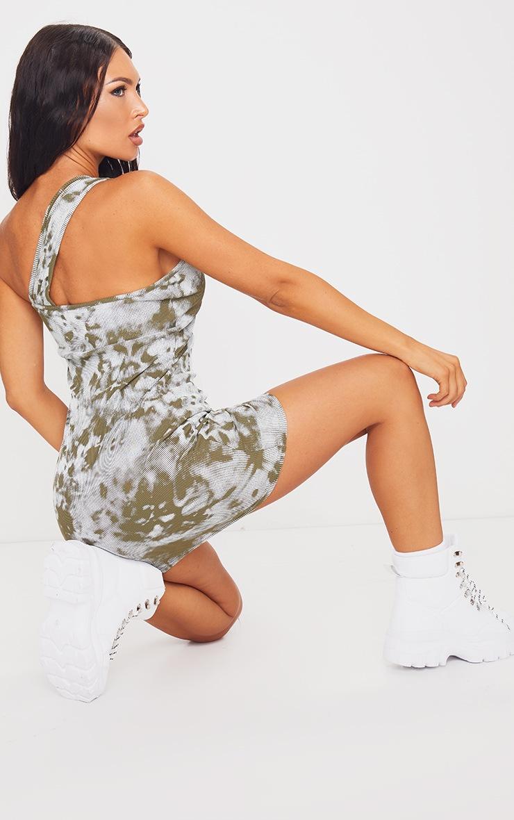 Green Tie Dye Asymmetric Strap Detail Bodycon Dress 2