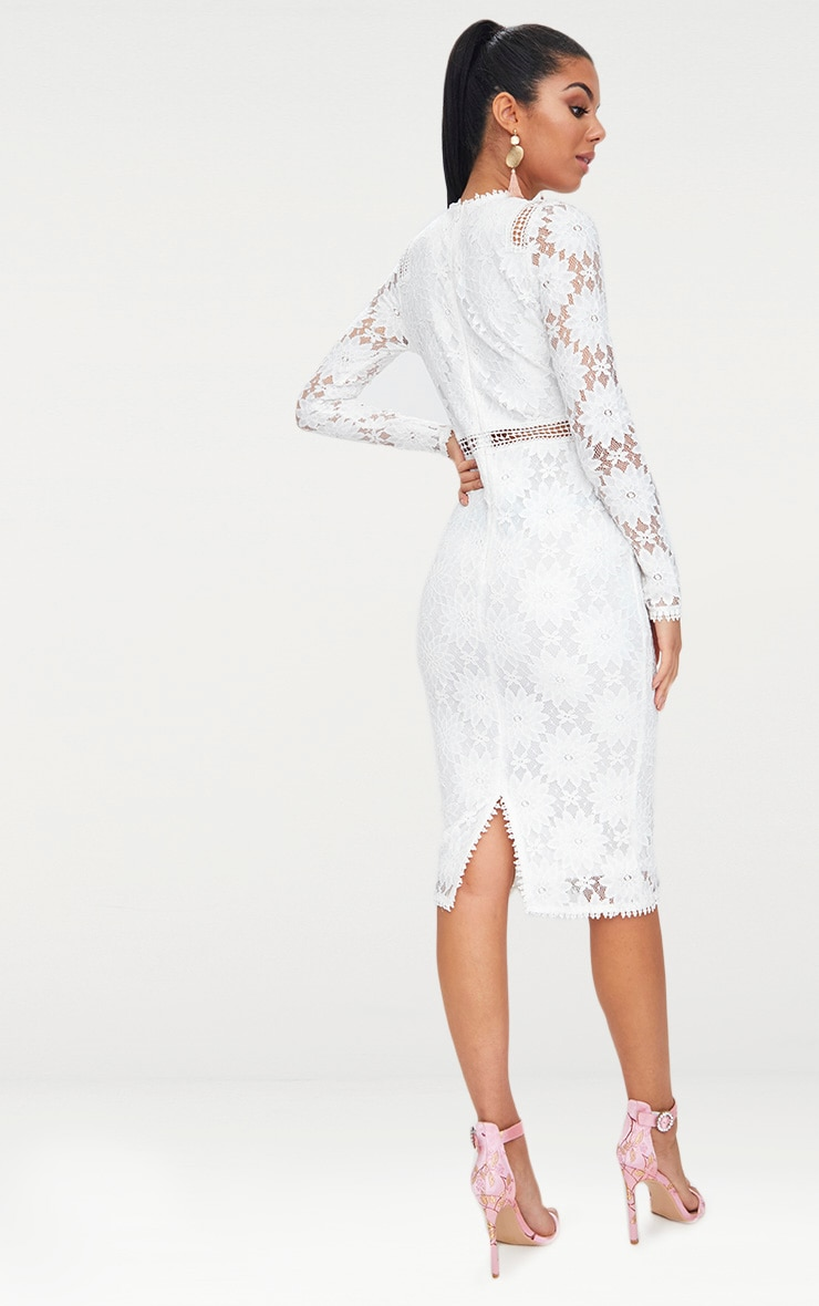 Caris White Long Sleeve Lace Bodycon Dress 2