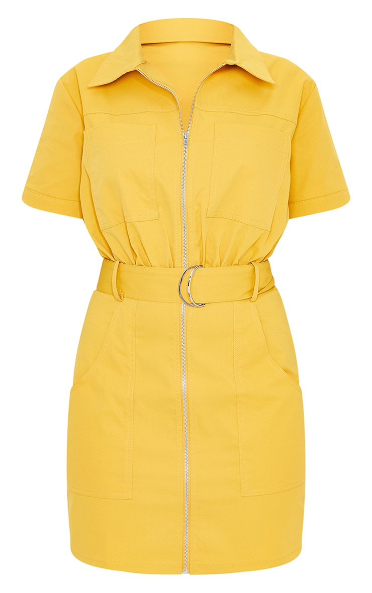 Mustard Woven Zip Through Belted Utility Shirt Dress 5