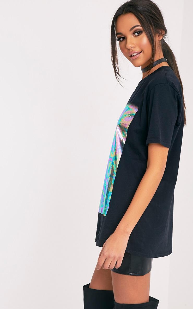 Maralee Black Oversized Holographic Foil Print T Shirt 4