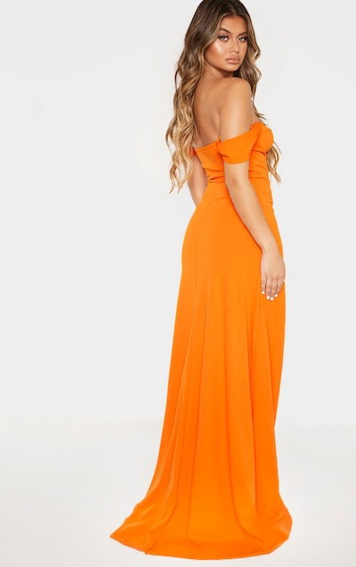 Bright Orange Cup Detail Maxi Dress