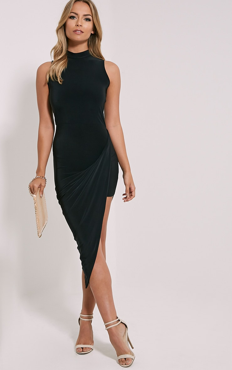 Petite Prim Black Slinky Drape Asymmetric Dress 1