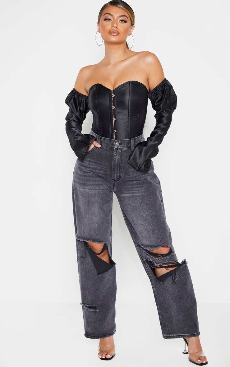 Black Satin Long Sleeve Bardot Corset Top 3