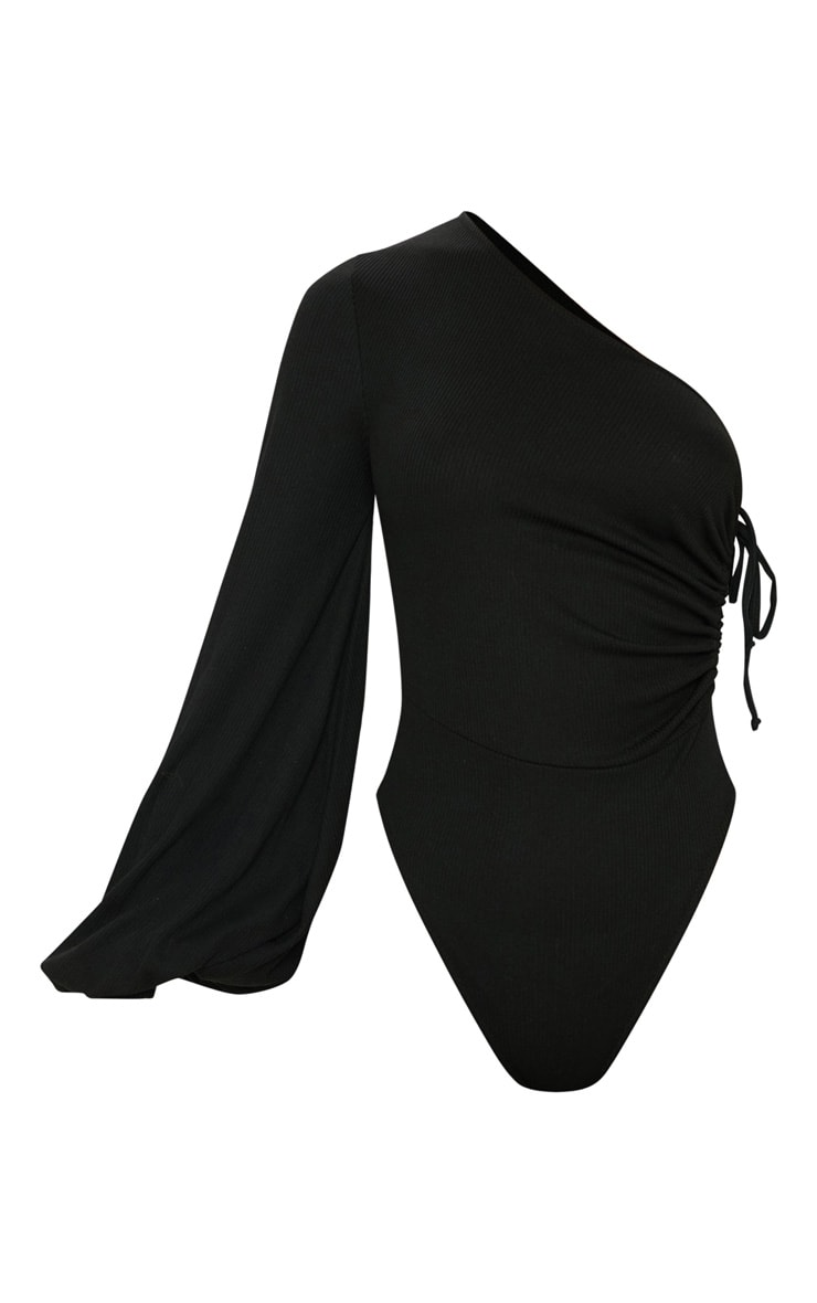 Black One Shoulder Ruched Rib Bodysuit 3